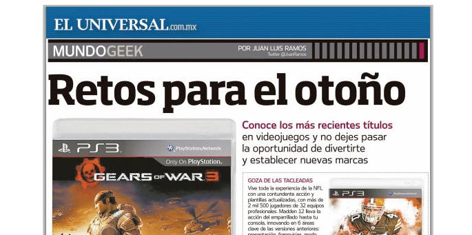 El Universal cree que Gears of War 3 es exclusivo de PS3